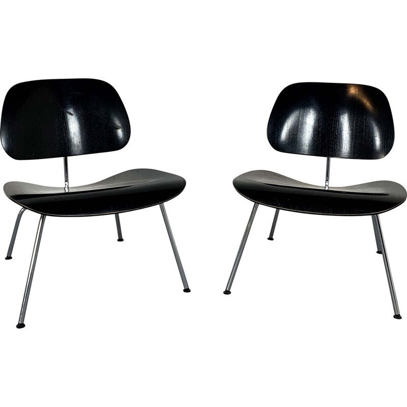Pair of vintage black LCM Chairs by Charles & Ray Eames for Vitra, 1990s