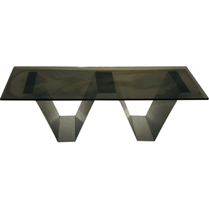 Vintage coffee table in aluminium and smoked glass