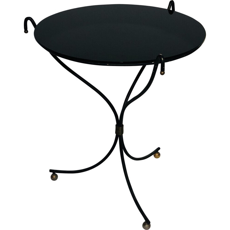 Glass and wrought iron side table