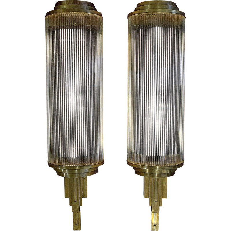 Set of Vintage Art Deco Cinema Wall Lights, 1925