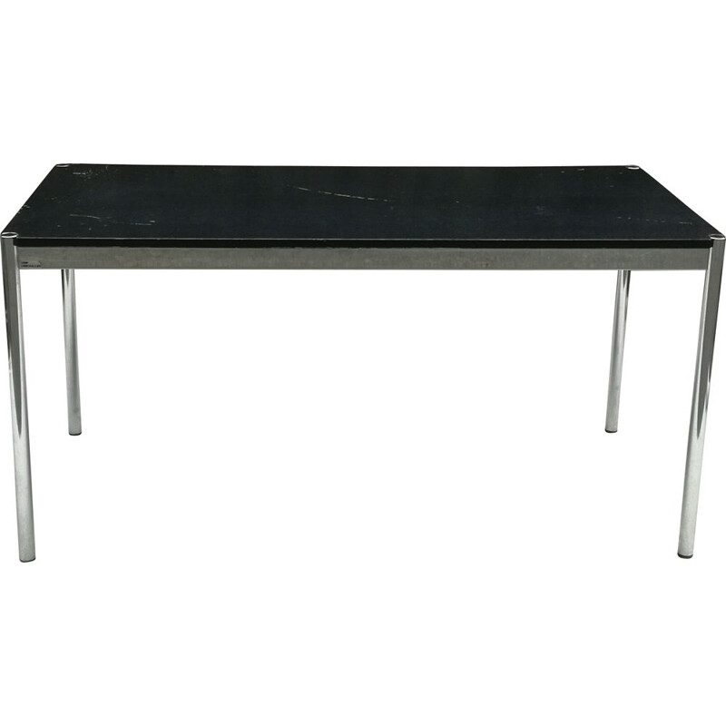 Vintage chromed steel table with black lacquered wood top, 1980s