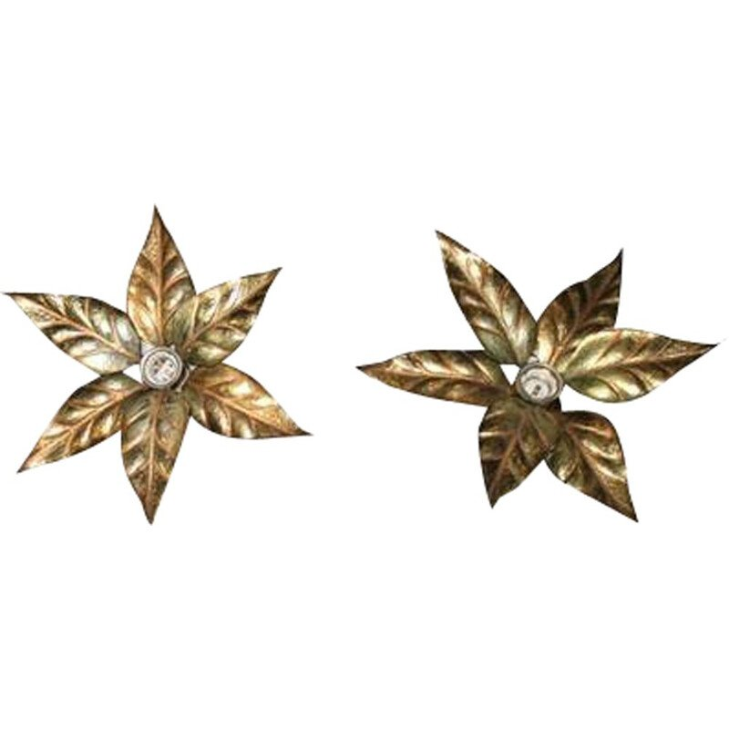 Pair of vintage floral wall lights by Willy Daro, Hollywood Regency style, 1970