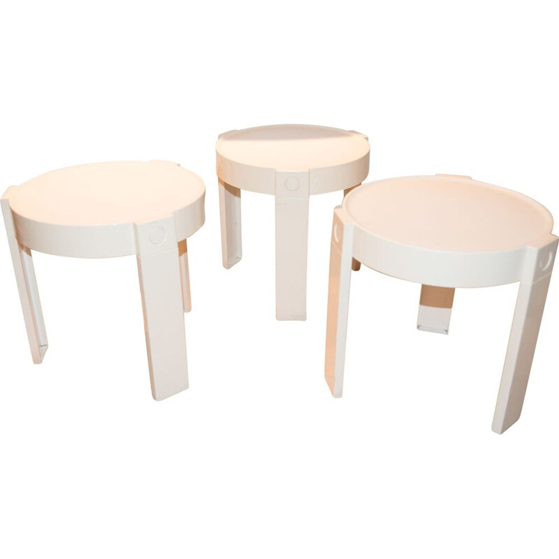 Set of 3 vintage nesting tables, Made In Holland, 1970s