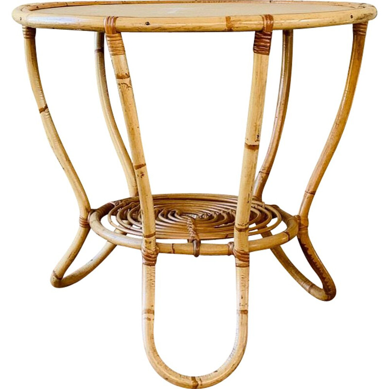 Vintage bamboo and rattan coffee table, France, 1960s