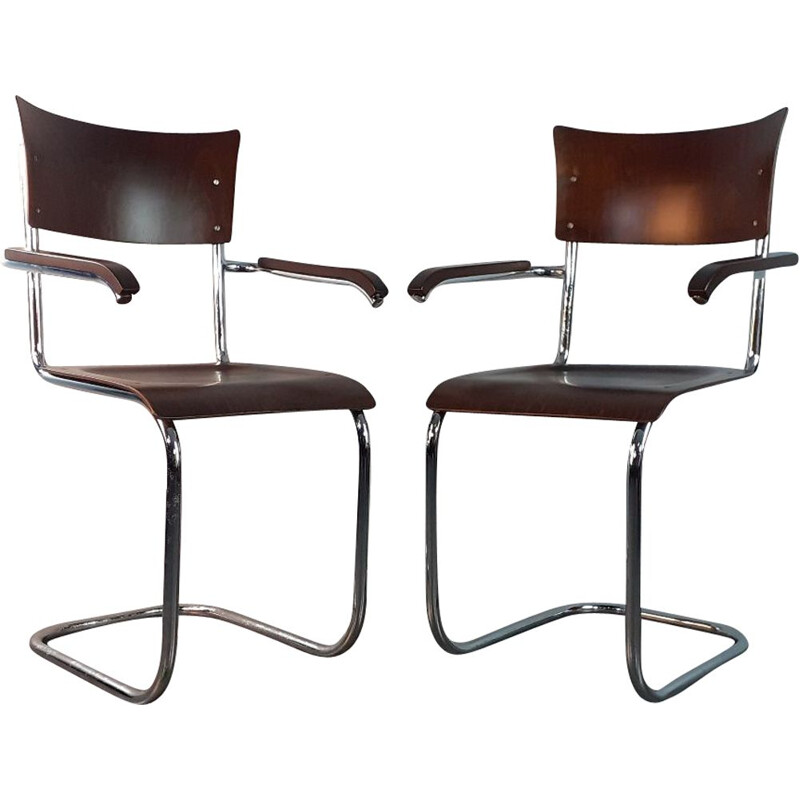 Pair of Vintage Walnut Chairs model Fn6 by Mart Stam by Mucke Melder, Czechoslovakia, 1930s