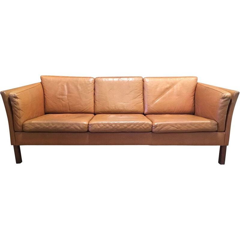 Vintage 3-seater sofa in leather and teak
