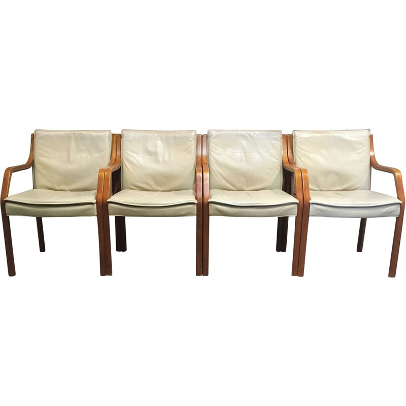 Suite of 4 vintage armchairs by Knoll Antimott