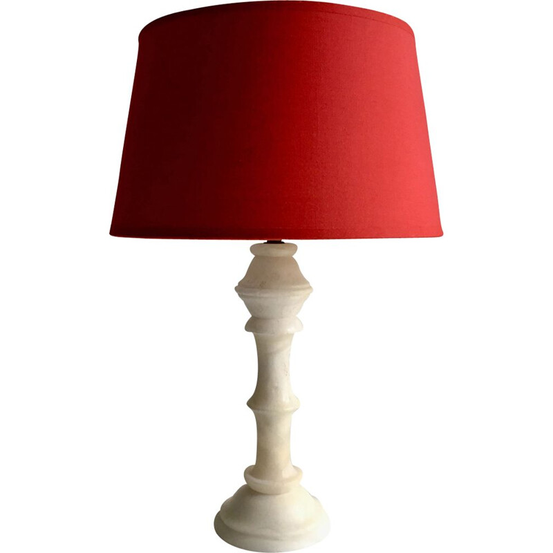 Vintage alabaster and red fabric lamp
