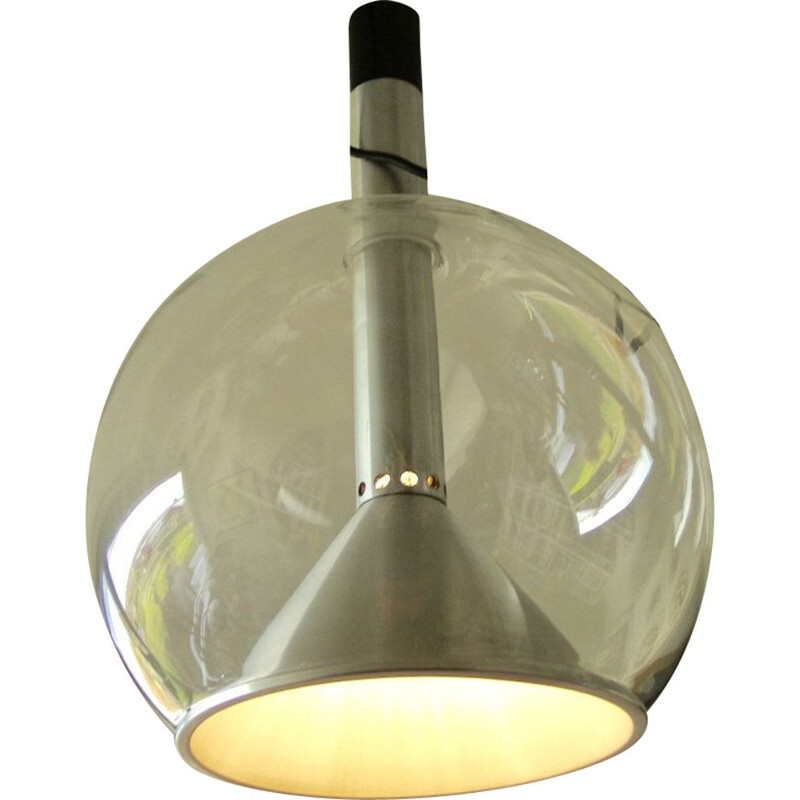 Large vintage aluminium pendant light by Frank Ligtelijn for Raak, 1960s