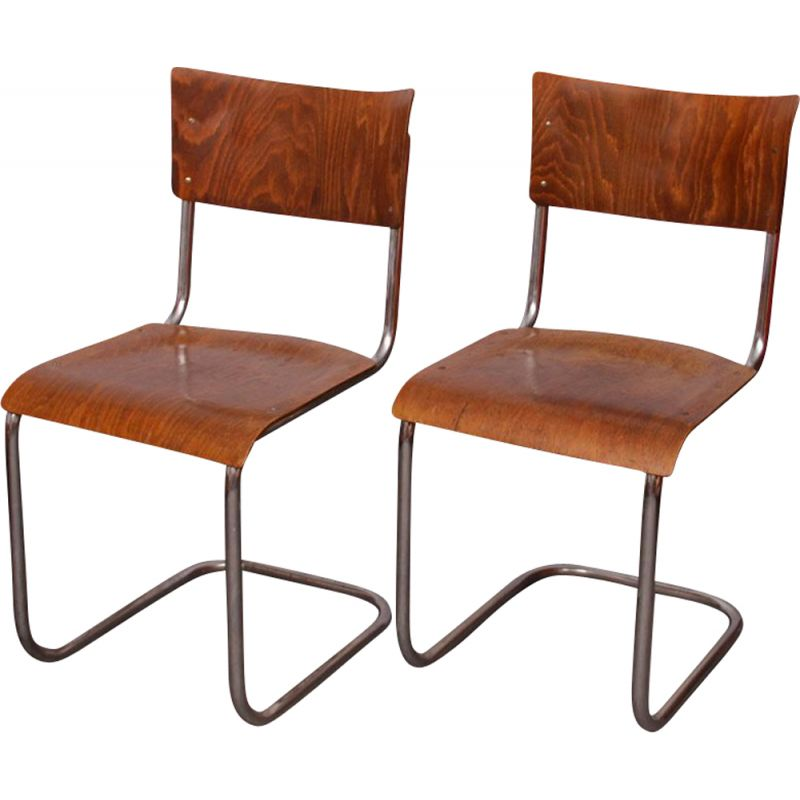 Pair of vintage chairs by Mart Stam by Kovona, 1940s