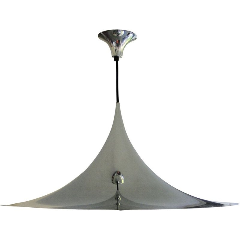 Large vintage chromed steel pendant light by Claus Bonderup and Torsten Thorup for Morup, 1960s