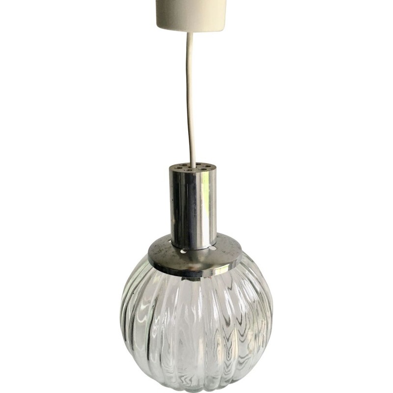 Vintage chrome and glass pendant light, 1970