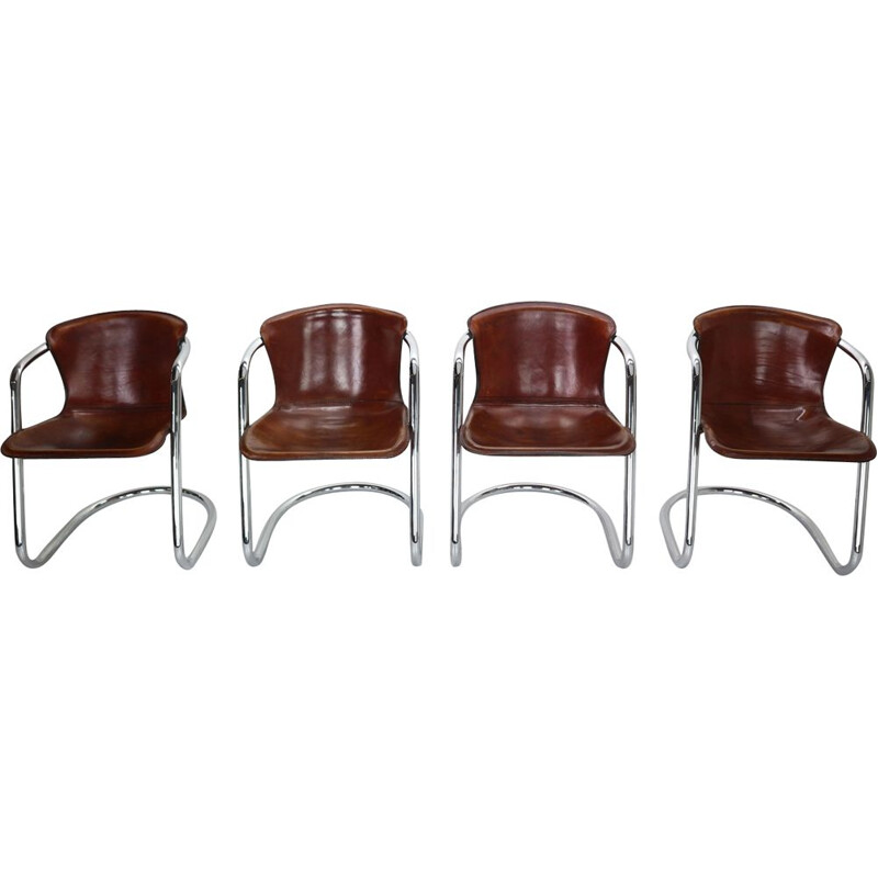 Set of 4 Leather Dining Chairs for Cidue, Italy 1970s