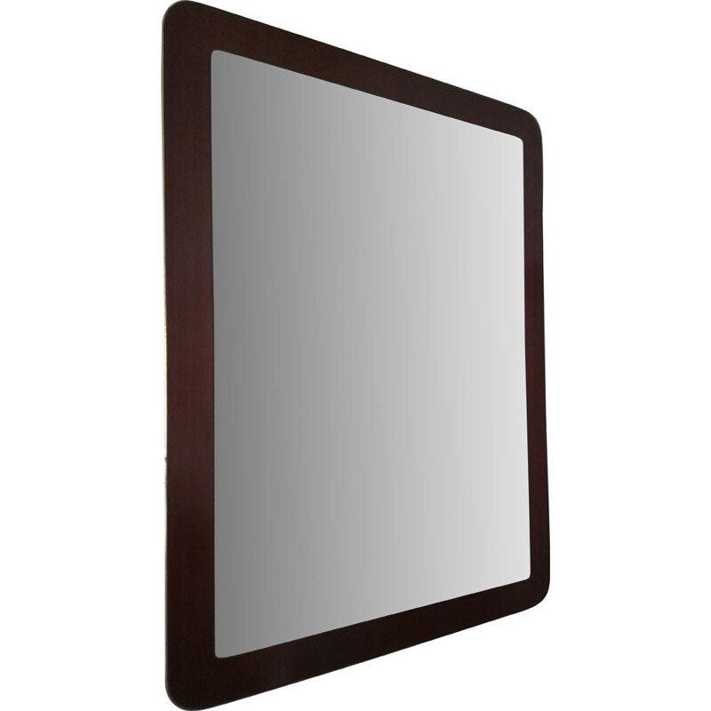 Vintage brass and wood mirror, 1960