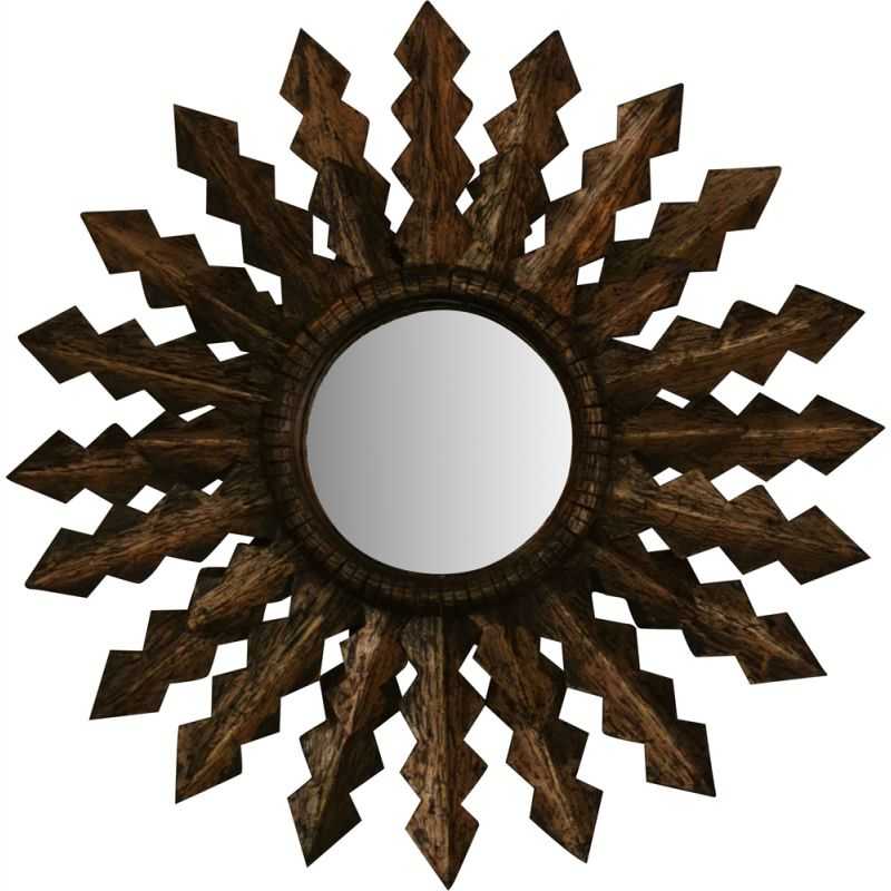 Large carved gilt metal sun mirror, 1950