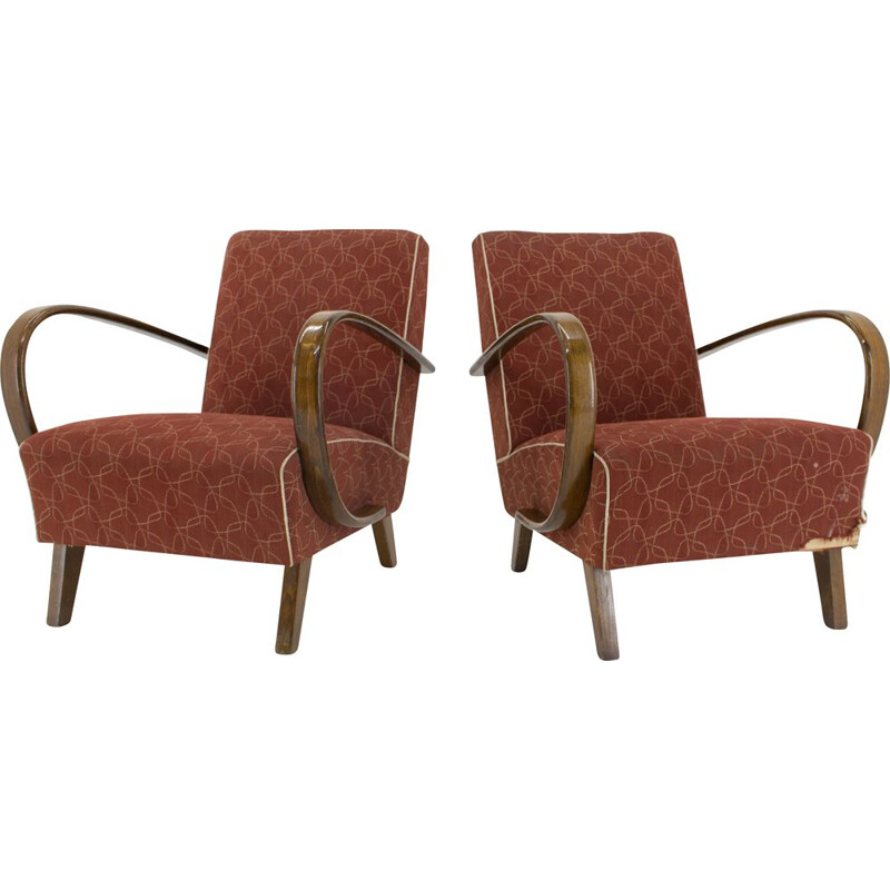 Set of 2 Art Deco vintage armchairs by Jindrich Halabala, 1940s