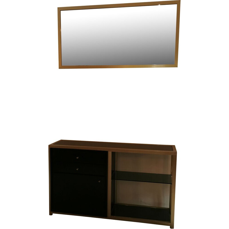 Vintage set with console and mirror, black and gold Italian style, 1980