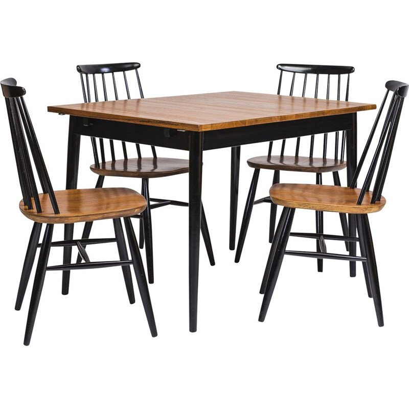 Vintage dining set with table and 4 chairs by Ilmari Tapiovaara, 1950s