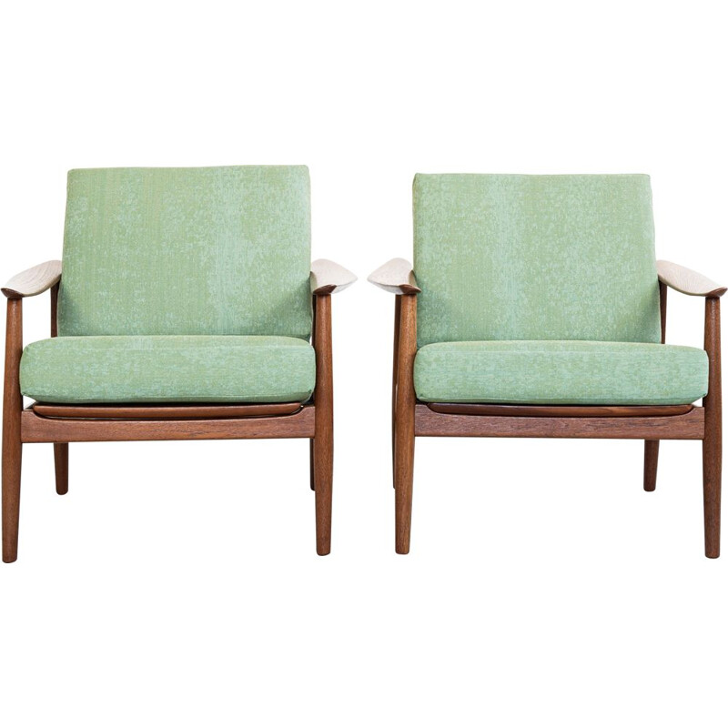 Pair of vintage armchairs in teak by Arne Vodder for France & Søn, 1960s