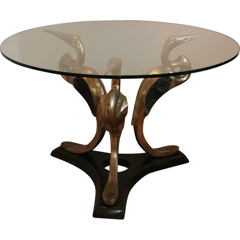 Vintage Italian brass coffee table, 1970