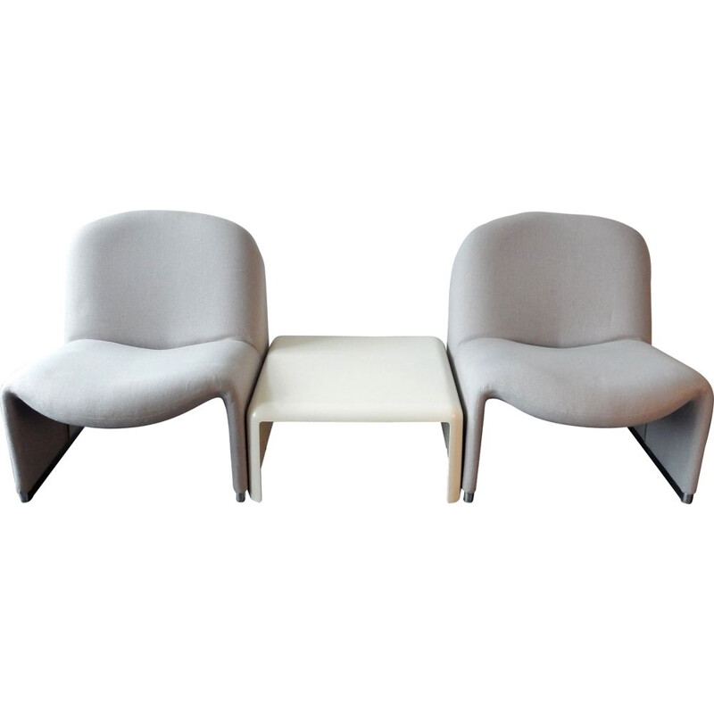 Set of 2 grey vintage Alky chairs by Giancarlo Piretti for Castelli, Italy, 1970s