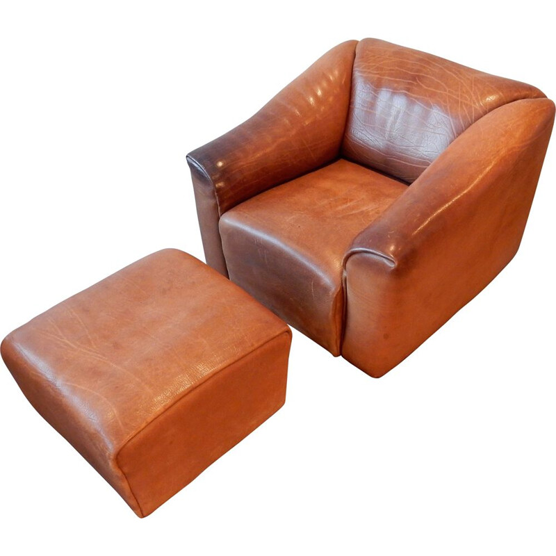 Brown leather vintage DS-47 living room set by De Sede, Switzerland, 1970s