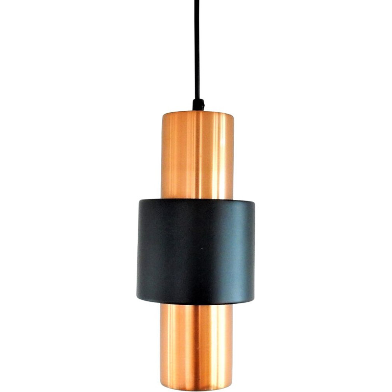 Set of 3 copper and black vintage pendant lamps for Hiemstra Evolux, 1960s