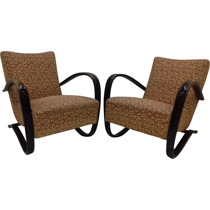 Pair of vintage armchairs designed by Jindřich Halabala, Model H-269, 1954