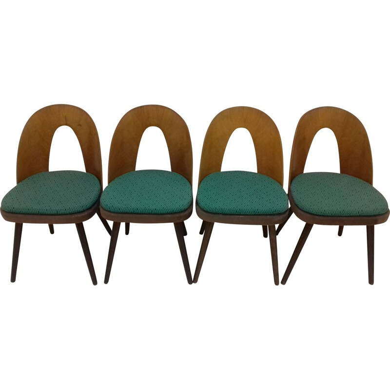 Set of 4 vintage wood and fabric dining chairs by Antonín Šuman, 1960s