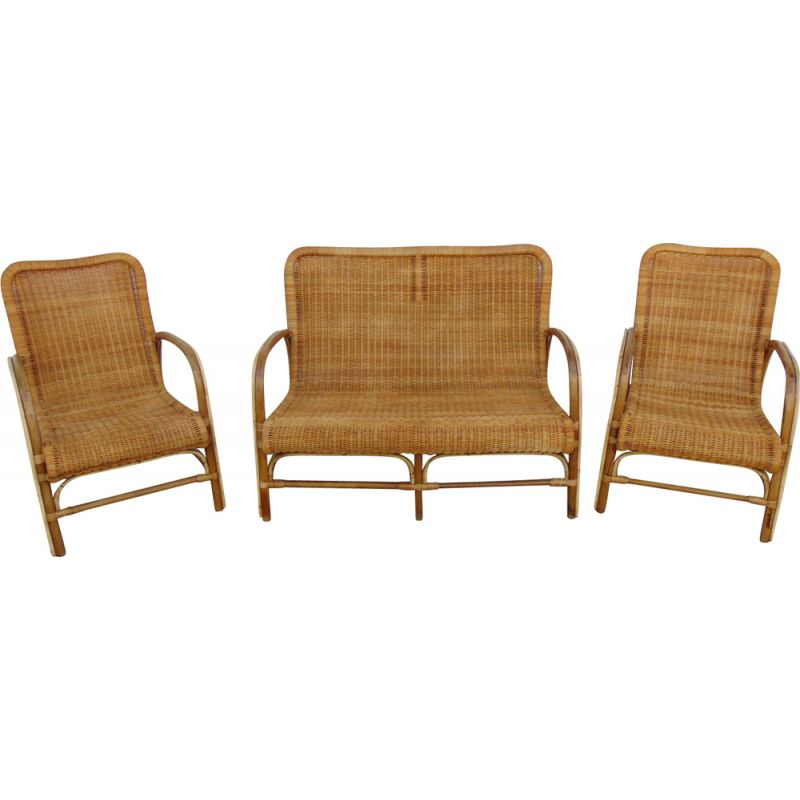 Vintage garden set in wicker and bamboo, 1960s