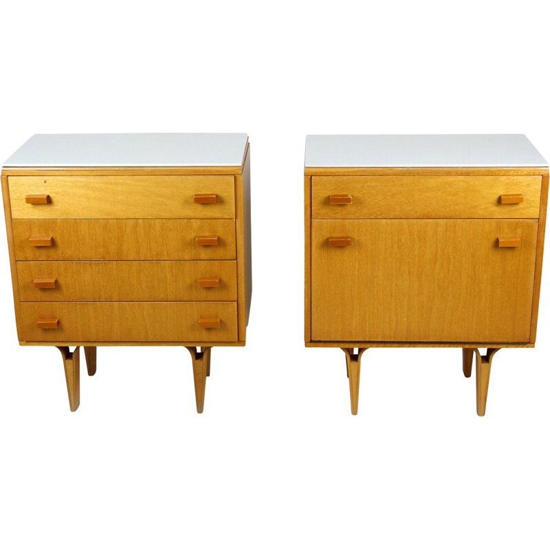 Set of 2 vintage White Glass and Plywood Nightstands from Novy Domov NP, 1970s