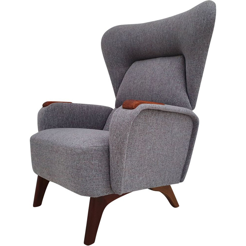 Vintage grey blue fabric and teak armchair, 1960s