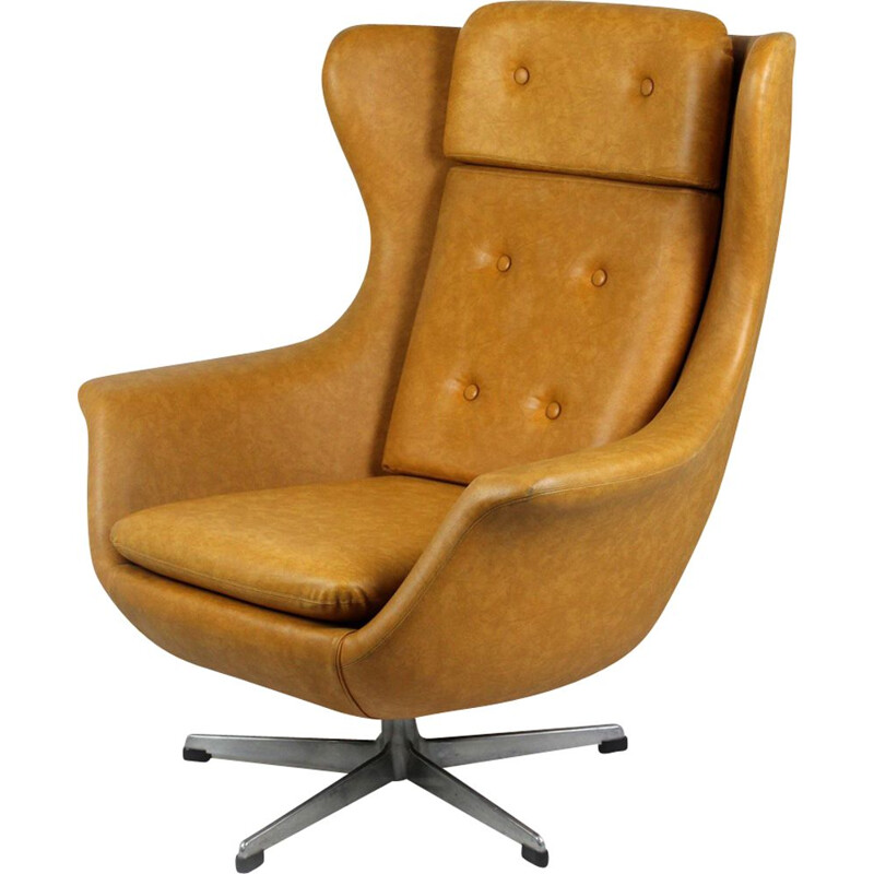 Vintage Swivel Leatherette Armchair from UP Zavody Rousinov, 1975