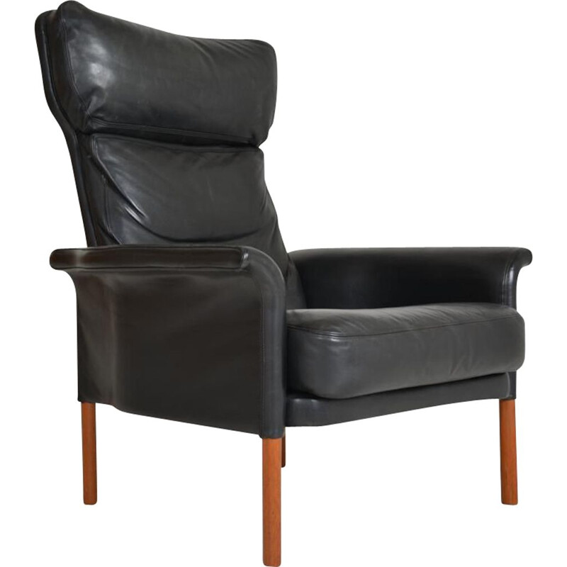 Vintage leather and teak armchair, Denmark, 1960s