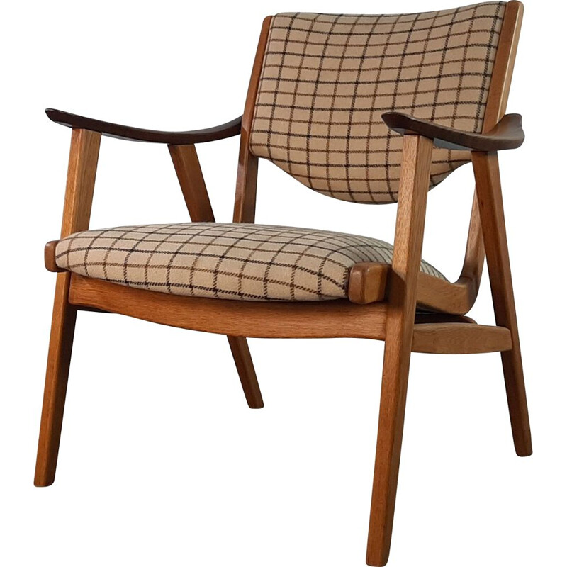 Vintage Oak and Wool Tile Fabric Armchair, Denmark, 1950s