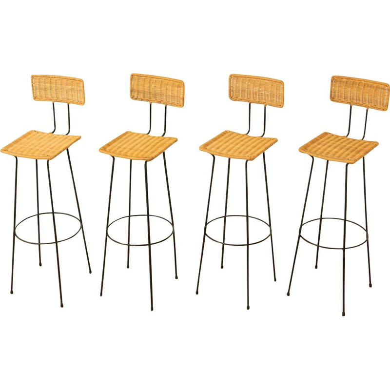 Set of 4 vintage barstools in wicker and steel, 1950s