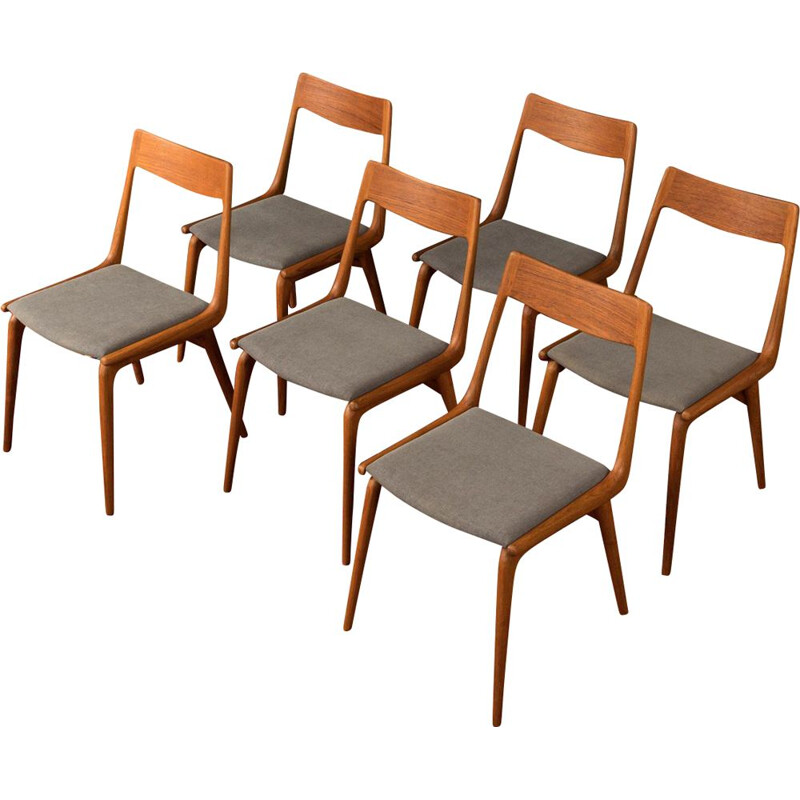 Set of 6 vintage dining chairs Model 370 Boomerang by Alfred Christensen, 1950s