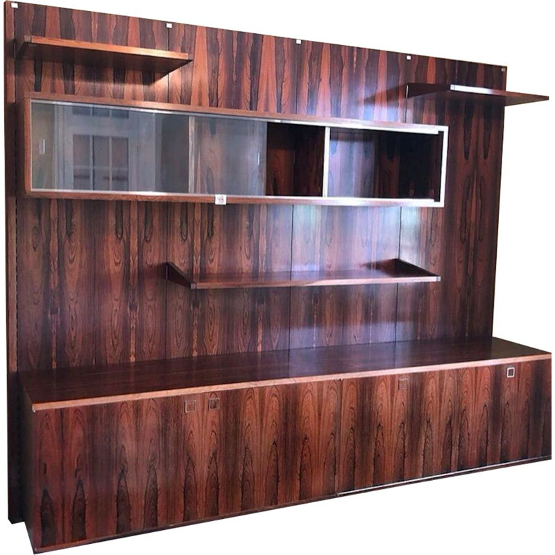 Vintage rosewood bookcase by Louis Paolozzi, Monopoly publisher, 1960s