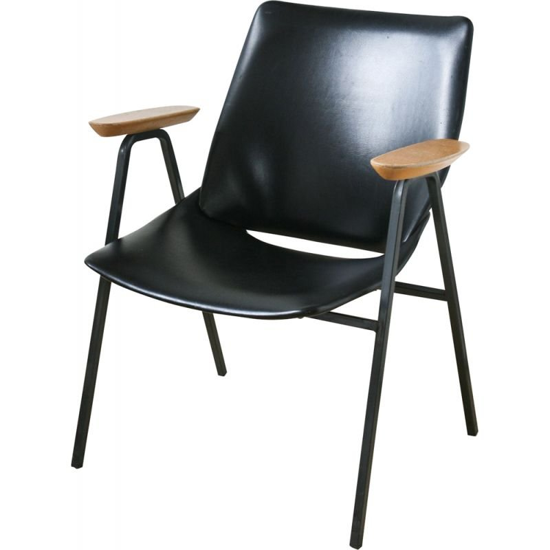 Vintage Black lounge chair model Lupina from Niko Kralj for Stol Kamnik, 1970s