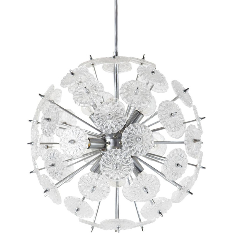 Vintage Chrome and Glass Sputnik Ceiling Lamp from Val Saint Lambert, 1960s