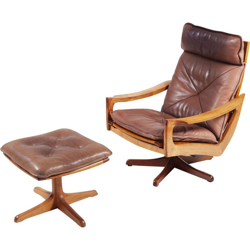 Set of 2 vintage Teak and Leather Swivel Chair and Ottoman, 1970s