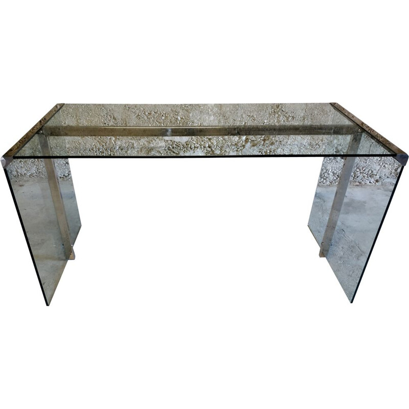 Vintage glass and chrome desk by Gallotti and Radice, 1970