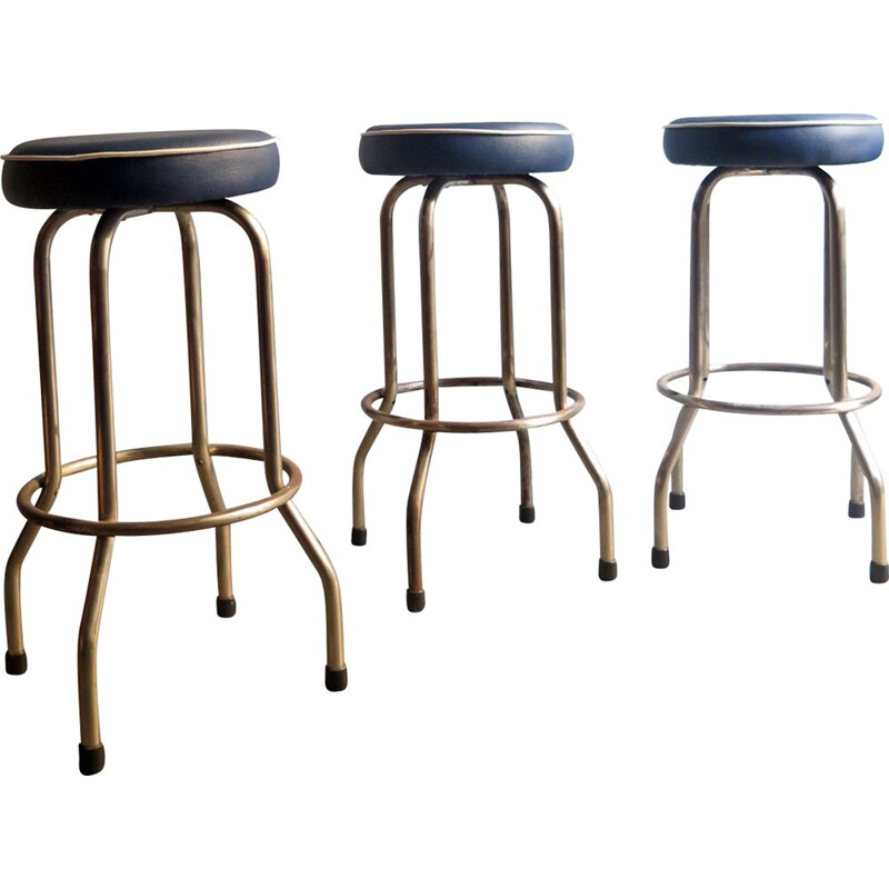 Vintage stool in metal and blue leatherette, 1950s