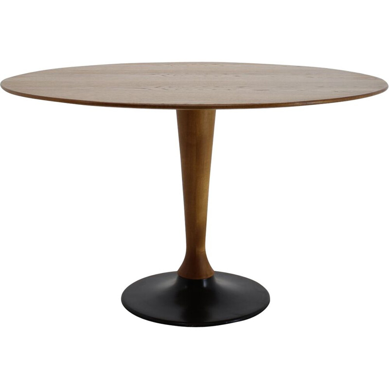 Vintage Round beech and Oak Table, Czechoslovakia, 1970s
