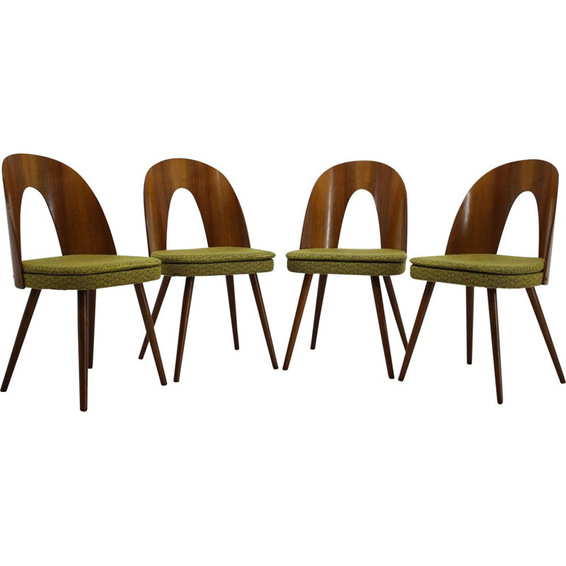 Set of 4 vintage walnut dining chairs by Antonin Suman, 1960s