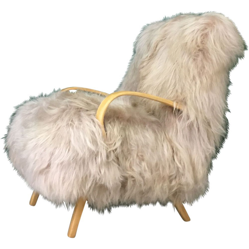 Vintage Retro Sheepskin and Bentwood Armchair