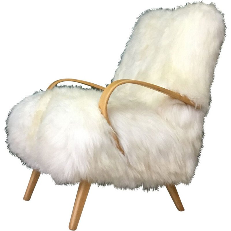Vintage Retro White Sheepskin and Bentwood Armchair