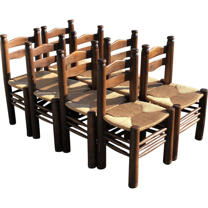 Suite of 8 vintage solid oak chairs by Charles Dudouyt, 1940s