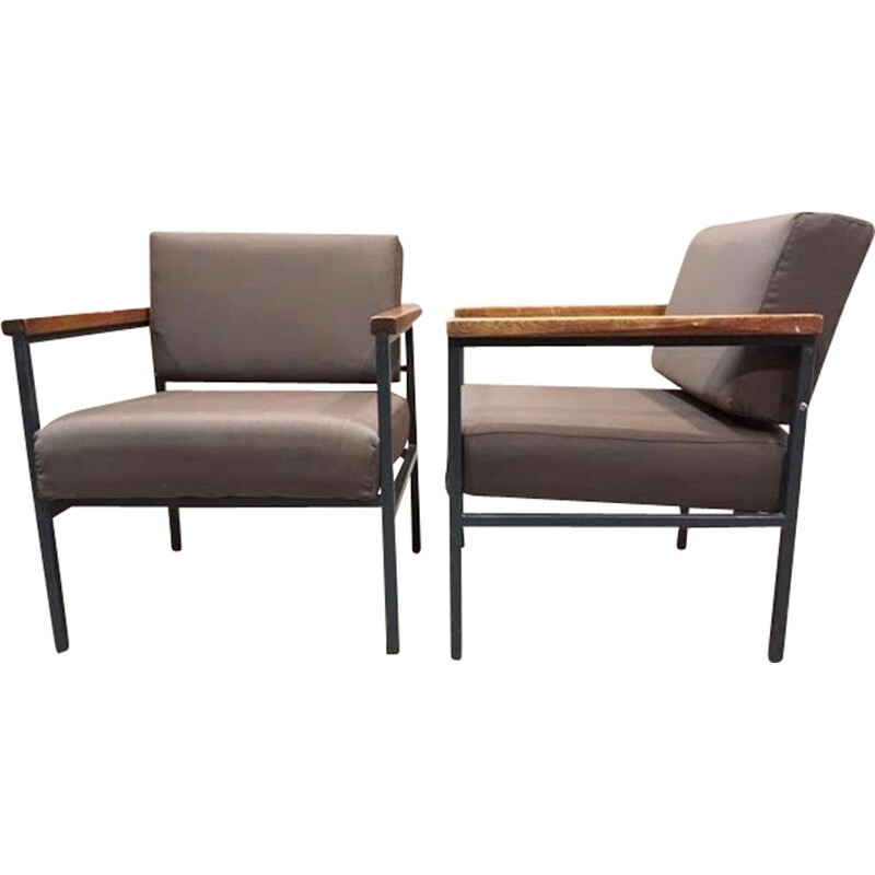 Pair of vintage industrial metal and teak armchairs, 1950