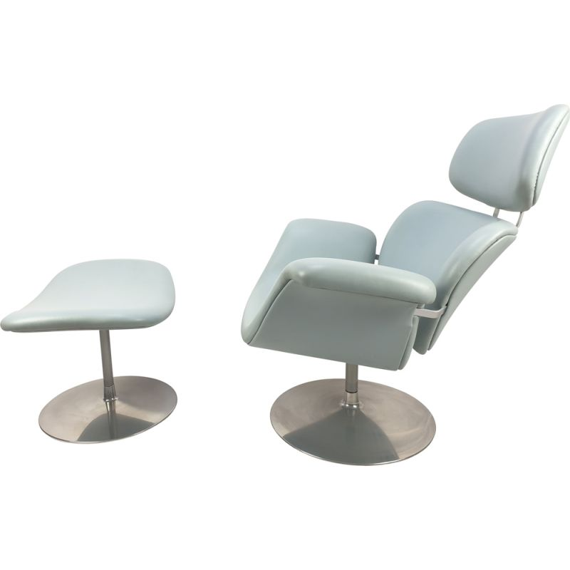 Vintage Tulip armchair and ottoman by Pierre Paulin for Artifort, 1980s